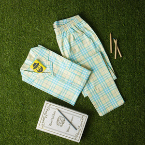 Sky Blue Yellow & White Checkered Night Suit