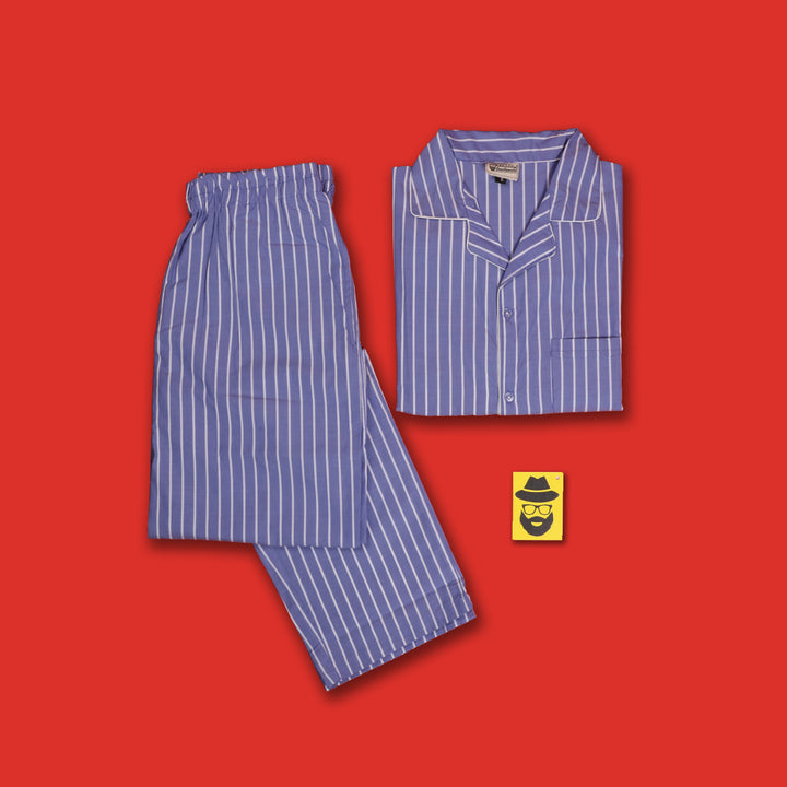 Pencil Striped Blue Pyjama Set