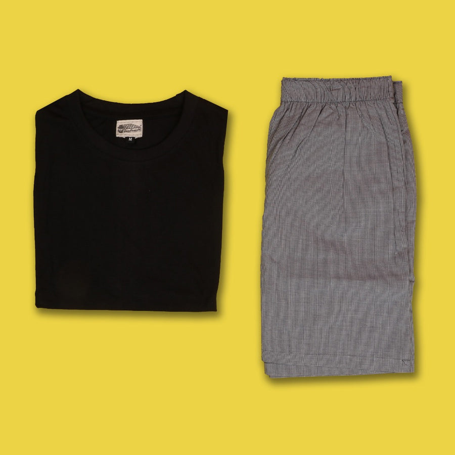 Minute Checkered Grey Boxer & Tshirt
