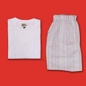 Pencil Striped Multi Coloured Boxer & Tshirt