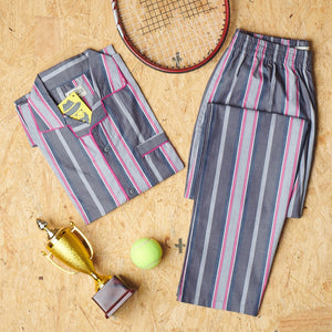 Royal Pink- Grey Stripes Night Suit