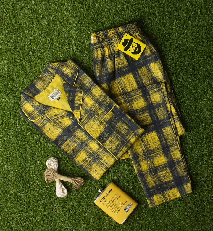 Yellow Black Scribble Checkered Night Suit