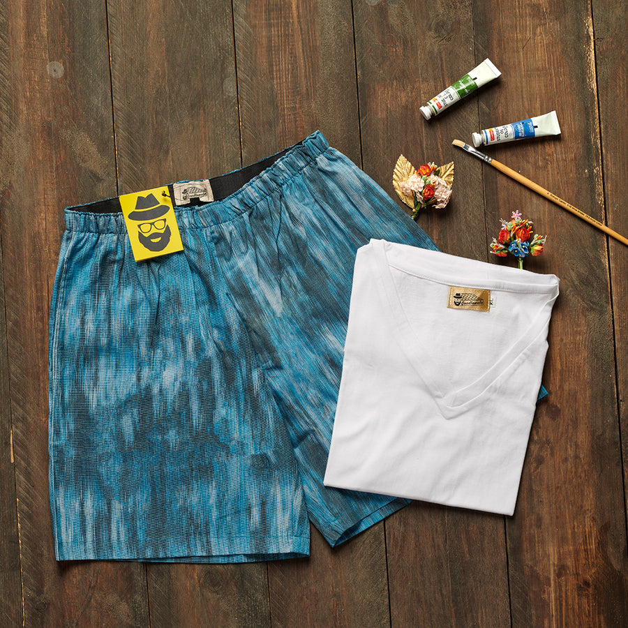 Blue Abstract Print Boxer Tshirt