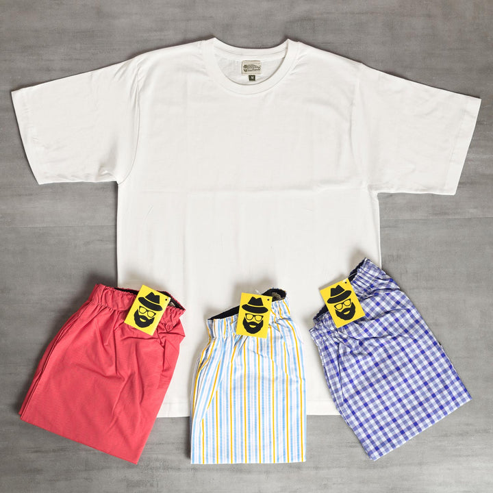 White Checkered + Balanced Striped + Candy Striped Bixers & White Tshirt Combo