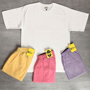Light Yellow + Light Purple + Dark Pink Boxers & White Tshirt Combo