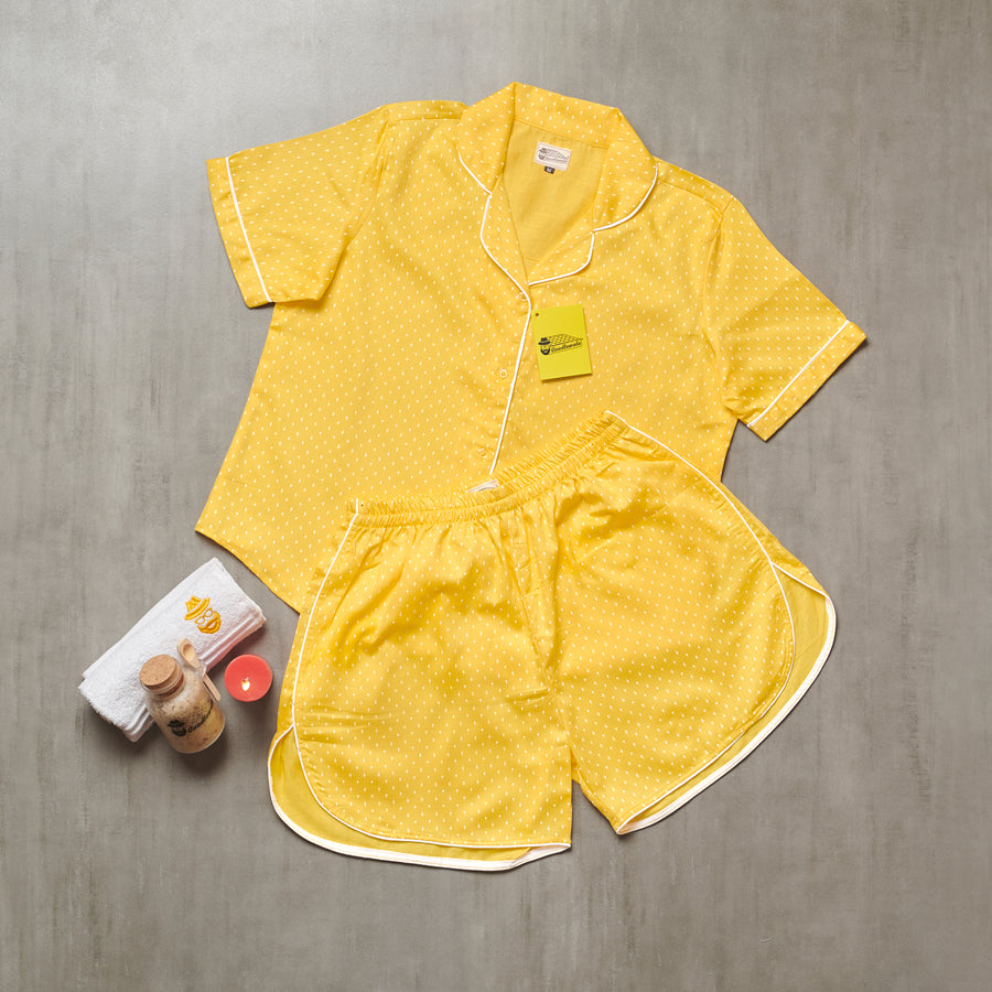 Bright Yellow with White Mini Prints Short Suit