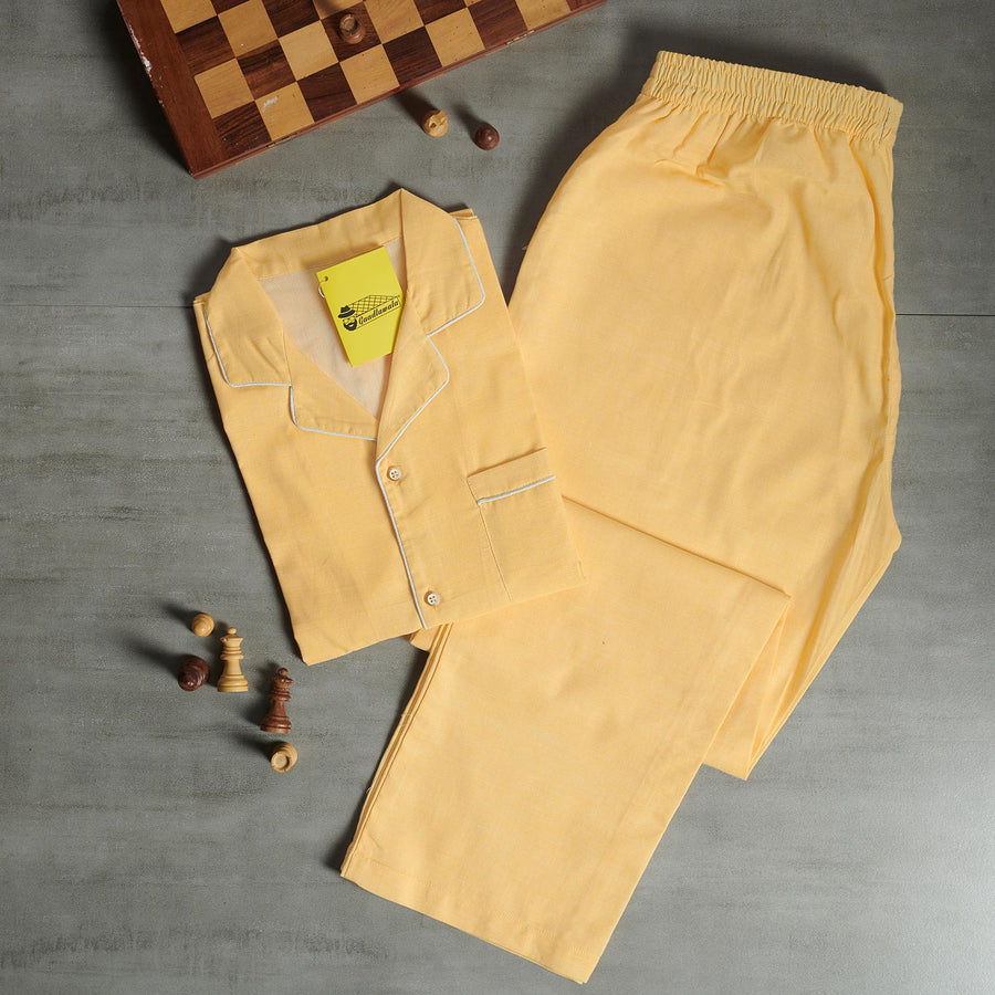 Light Yellow Plain Night Suit