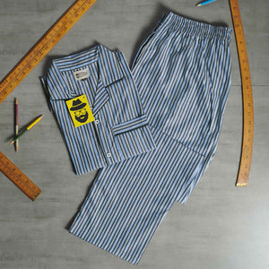Candy Striped Light Blue- Grey Night Suit