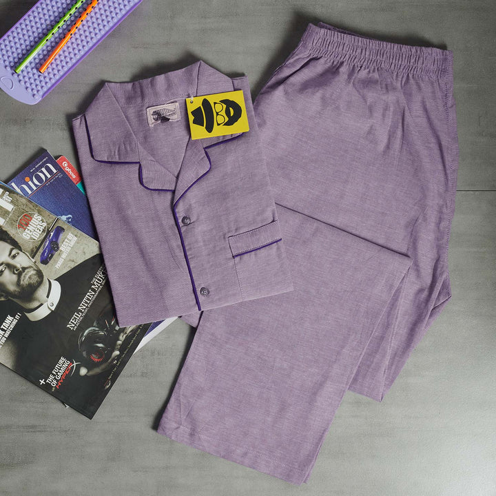 Light Purple Plain Night Suit