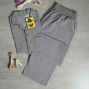 Light Grey with Dark Diamond Shaped Grey Prints Night Suit