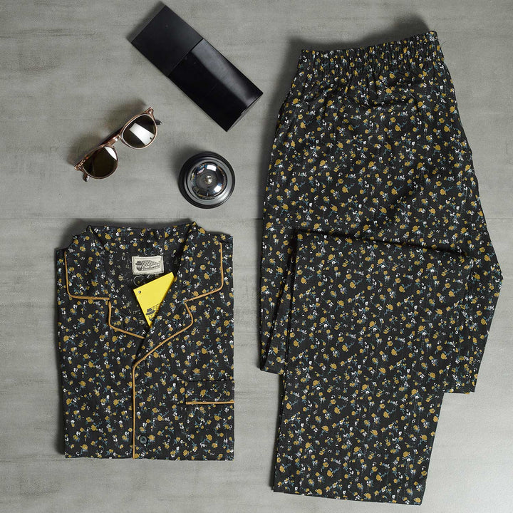 Black Base with Gold Floral Night Suit