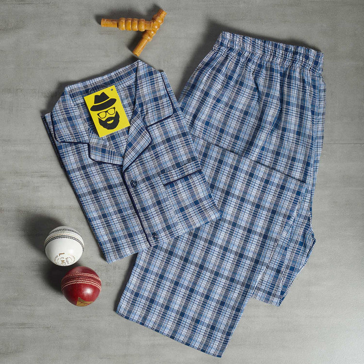 Madras Plaid Grey- Blue Checkered Night Suit