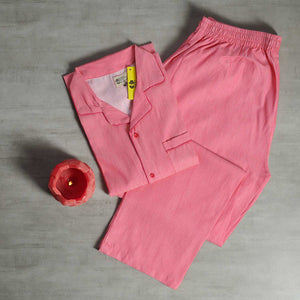 Dark Pink Plain Night Suit