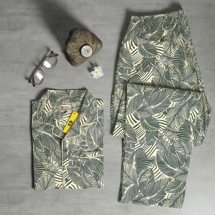 Cream Dark Green Leaves Night Suit