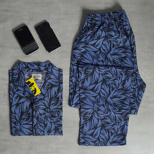Black Blue Leaves Night Suit