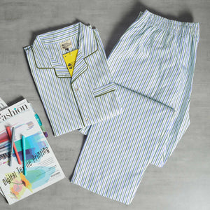 Candy Striped Light Blue - Green Night Suit