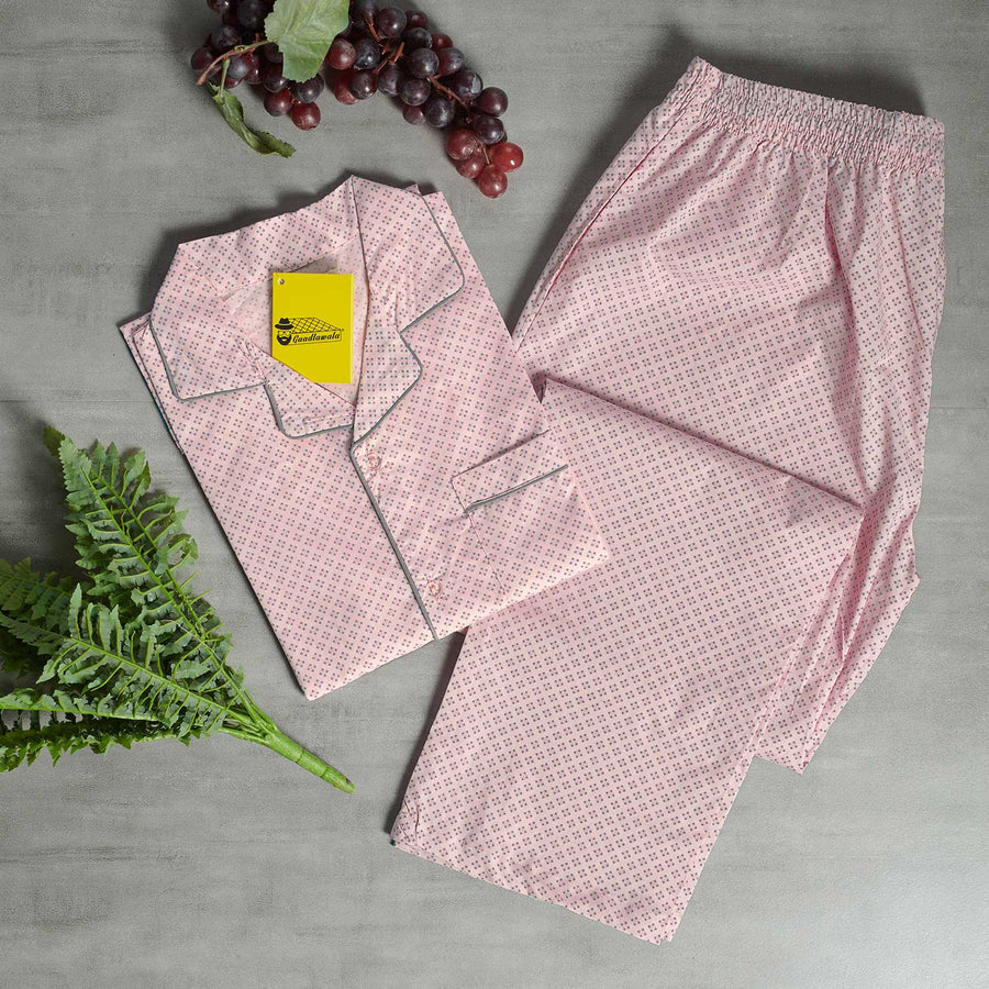 Baby Pink Base with Dark Grey Prints Night Suit