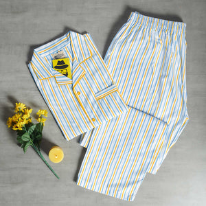 Balanced Striped Yellow- Light Blue Night Suit