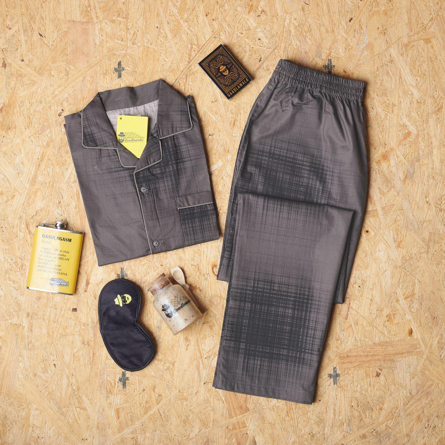 Faded Checkered Grey Black Design Night Suit