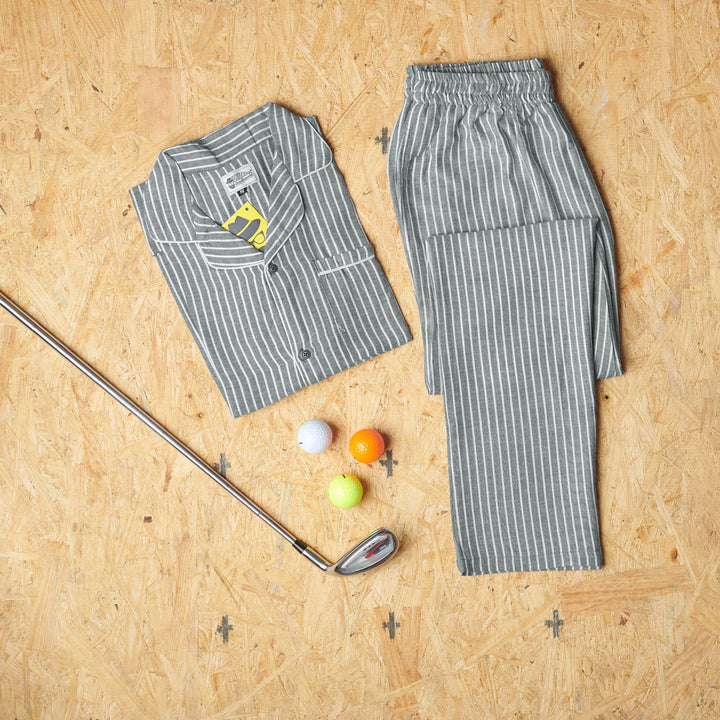 Grey White Pin-Striped Design Night Suit