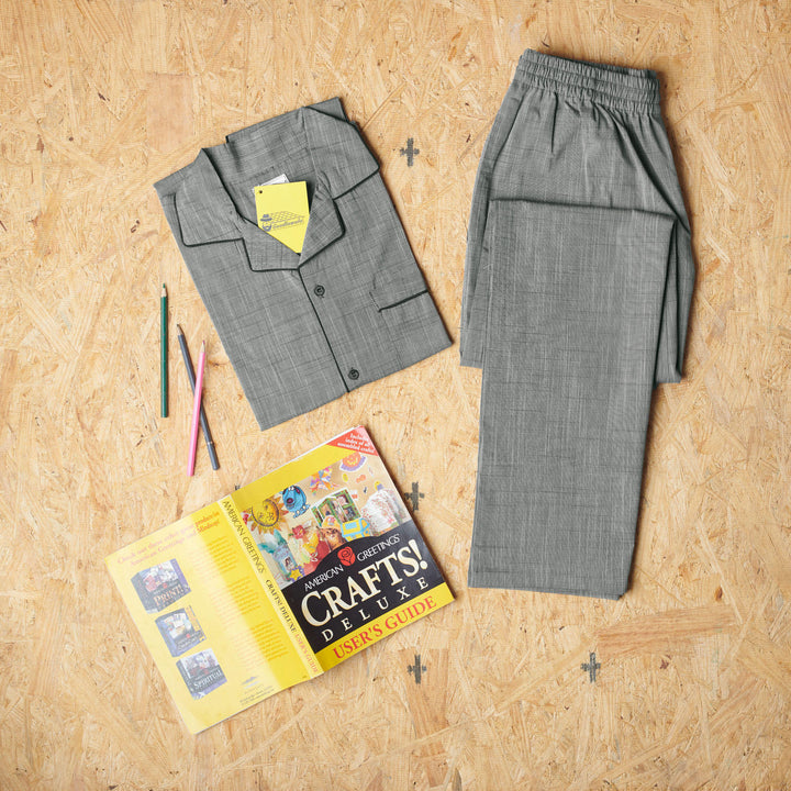 Grey Tiny Pin-Striped Design Night Suit