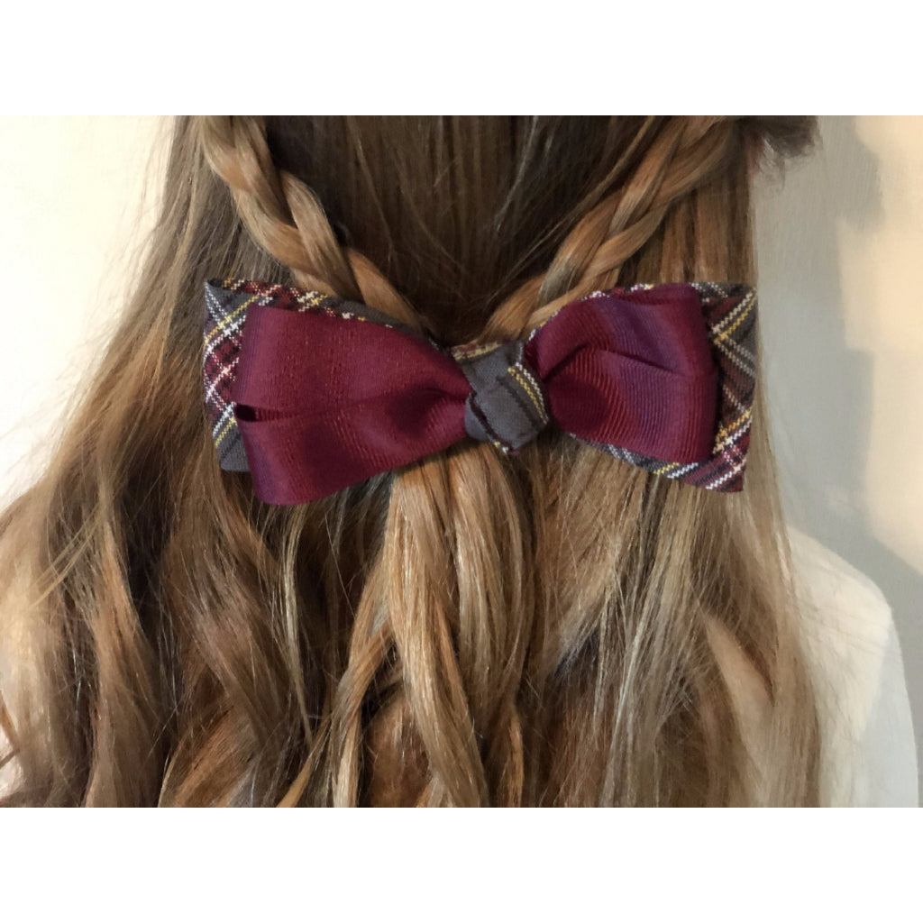 Plaid Lindsay Bow w/Burg Ribbon (Qty 1)