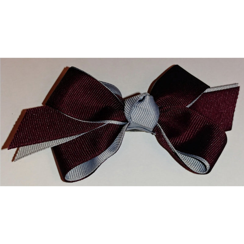Burgundy & Silver 2 Toned Ribbon Bow (Qty 1)