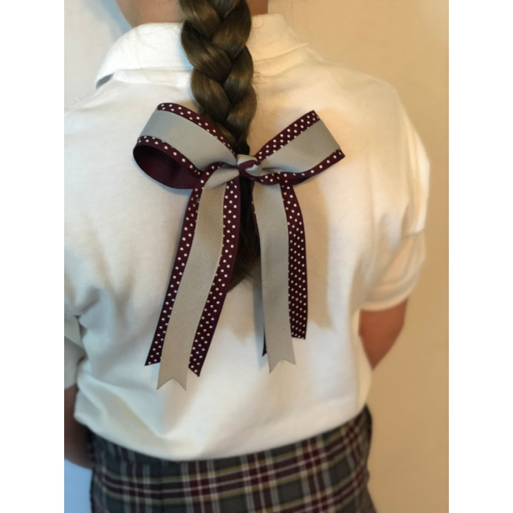Burgundy with White Polka Dot & Silver Ribbon 2 Layer Bow