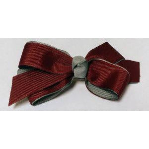 Maroon & Grey 2 Tone Bow - French Clip