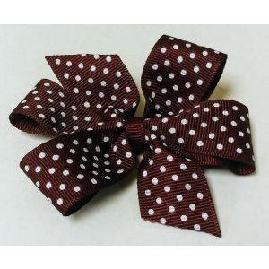 Burgundy Polka Dot Pinwheel Bow (Qty 1)