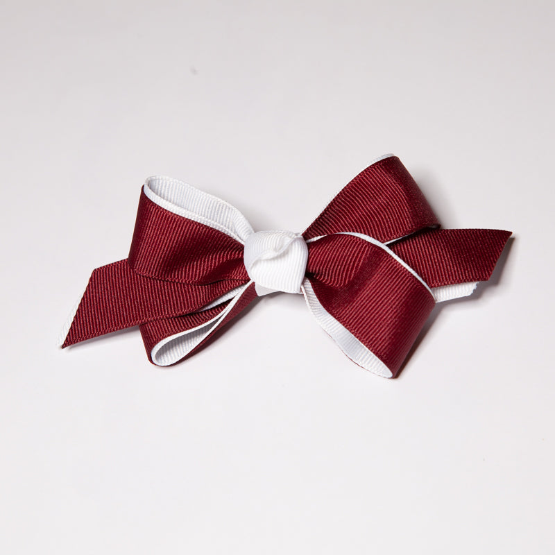 Maroon & White Two Tone Bow - French Clip