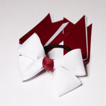 Burg/White 4 Loop Bow with Tails (Qty 1)
