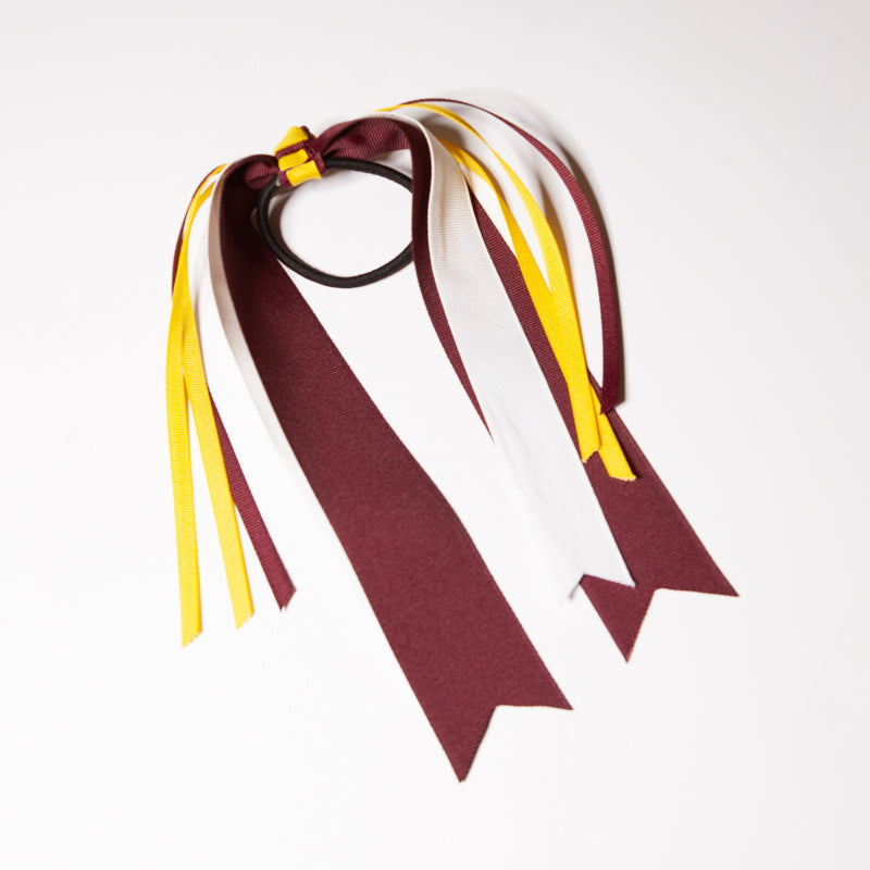 Streamer Bow - Burgundy/White w/ Maize - 18""