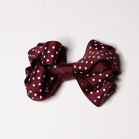 Dark Maroon and Silver Bow (Qty 1)