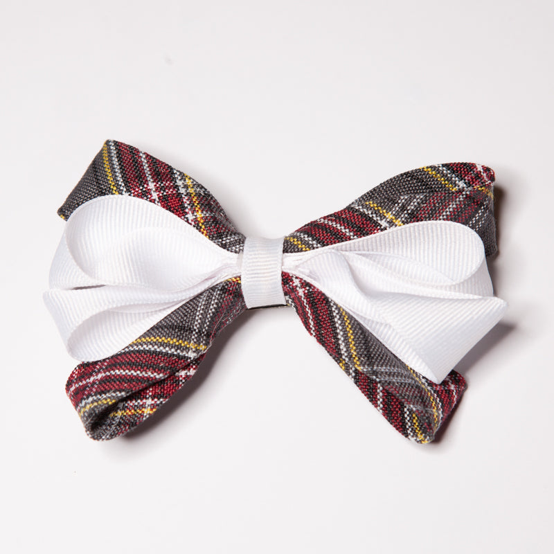 Plaid Carnival Bow w/White Ribbon (Qty 1)