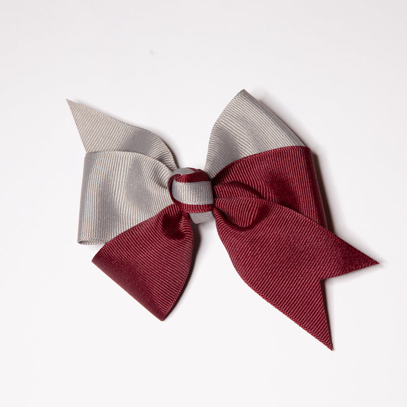 Burgundy/Grey Bow with French Clip (Qty 1)