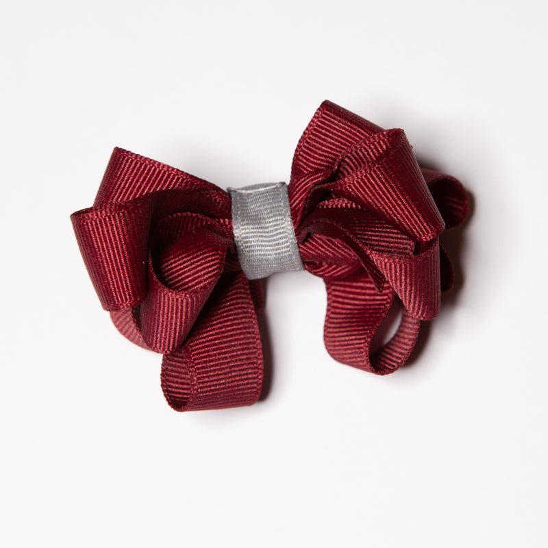 Tiny Ruffle Bow - Maroon/Grey Clippy