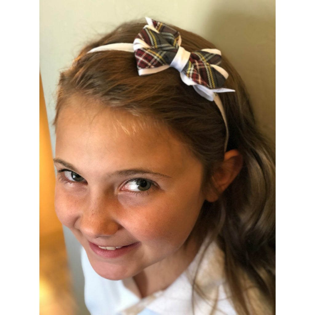 Mini Monarch Plaid Bow on White Headband (Qty 1)