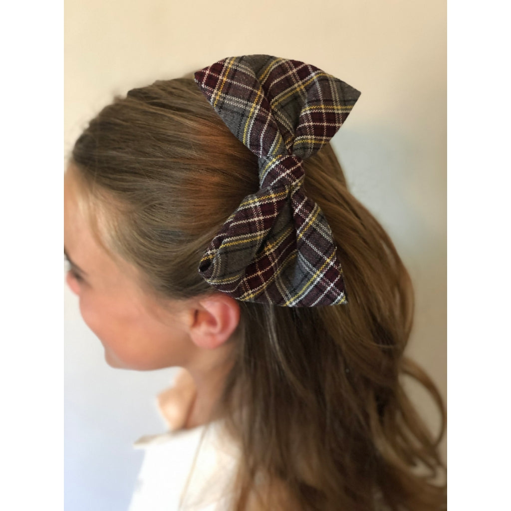 "Plaid Bow w/ French Clip 6"" - Large"