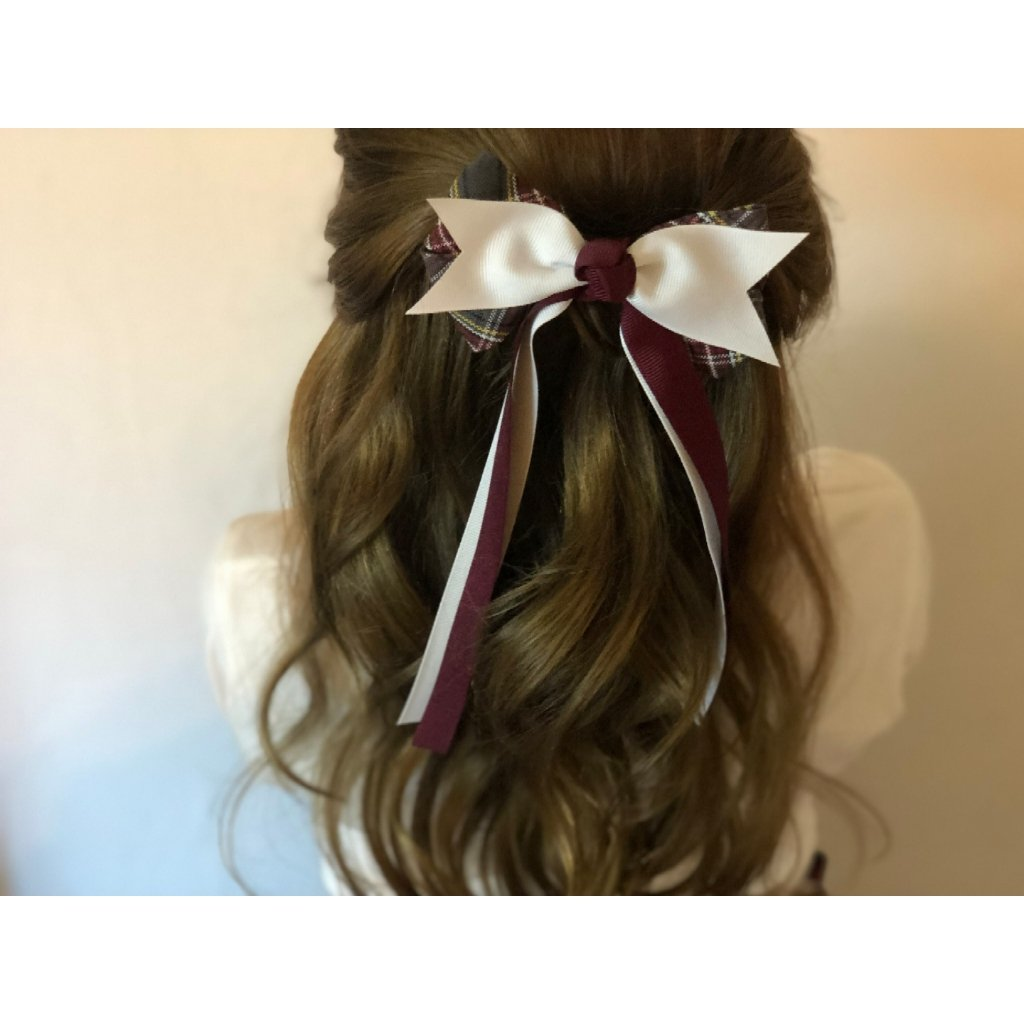 Plaid Bow Spike w/Burgundy & White Streamers
