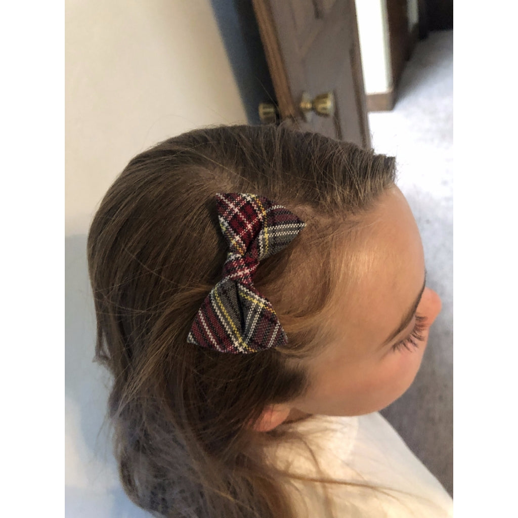Plaid Bow w/ French Clip - Medium 4.5""