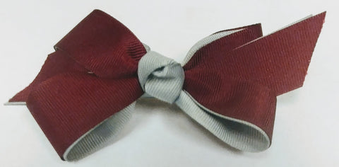 Tiny Ruffle Bow-Burgundy Polka Dot-Clippy