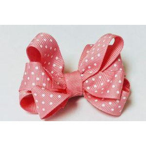Tiny Ruffle Bow Hot Pink Polka Dot - Clippy