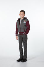 Varsity Maroon & Grey Hooded Jacket