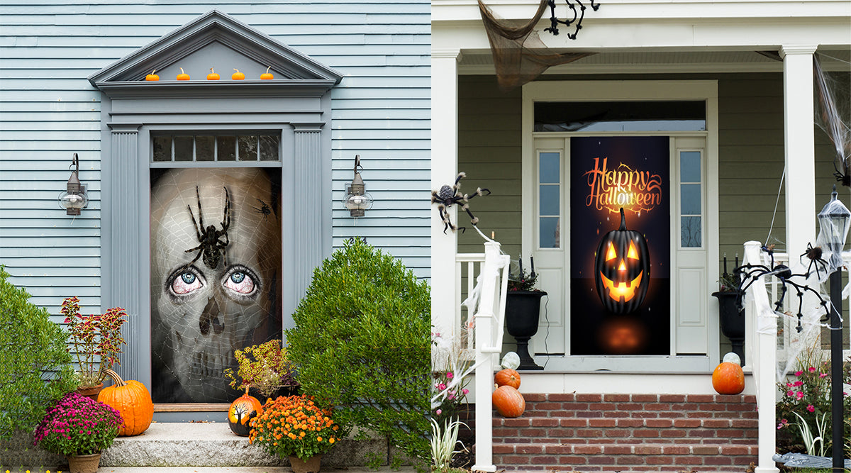 Halloween DoorFotos hanging on Halloween themed house
