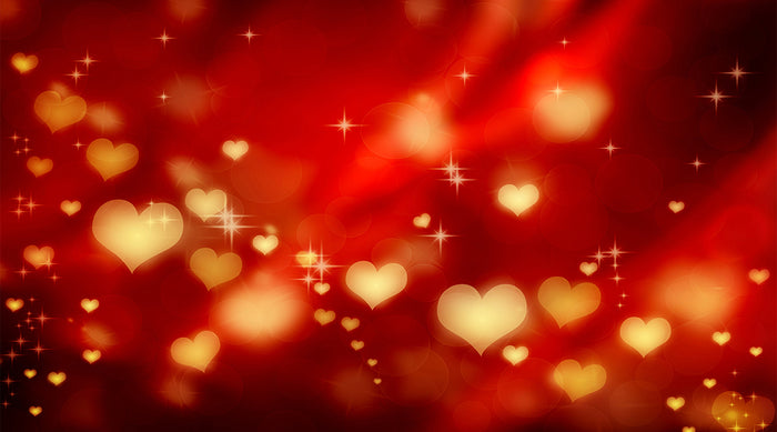 Hearts on red valentine background