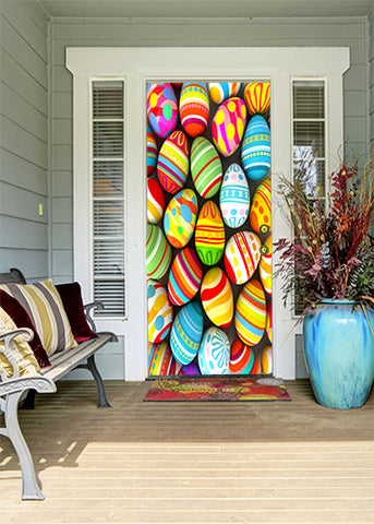 colorful easter egg door covers