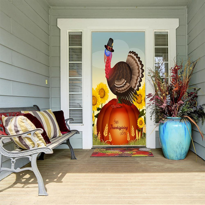 Turkey on Pumpkin Door Cover