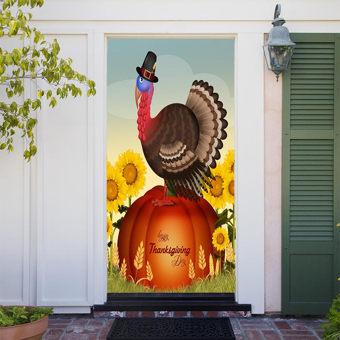 Turkey on Pumpkin Door Decoration