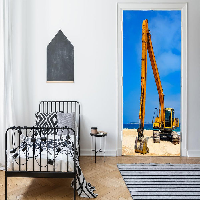 Yellow Excavator Door Banner